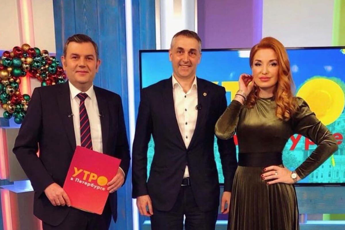 Марианна Юрьевна с первым проректором СПбПУ Виталием Сергеевым на телеканале «Санкт-Петербург»